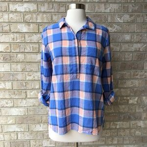 Gap Plaid Cotton Cuff Sleeve Top Size XS